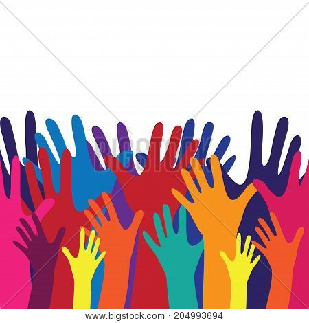 Raised hands vector poster. Colorful spectrum hands on white background. Web and mobile applications. Acceptance positive passed voting. Rainbow colors. Flat design.