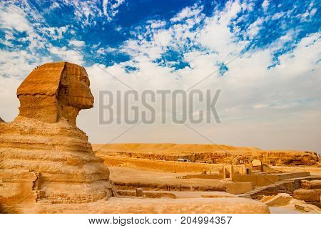 Sphinx guarding the tombs of the pharaohs in Giza. Cairo, Egypt