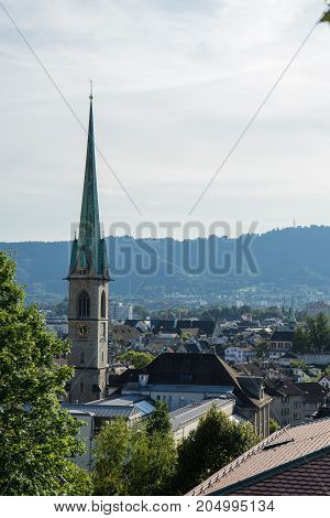 Scenery of old town of Zurich, Switzerland from University hill on a summer day