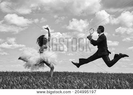Happy Bride And Groom Jump