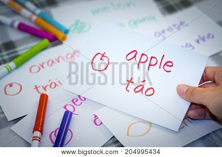 Vietnamese; Learning New Language With Fruits Name Flash Cards