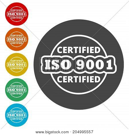 ISO 9001 certified sign icon, vector icon