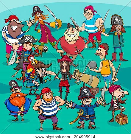 Cartoon Illustrations of Fantasy Pirate Characters Group