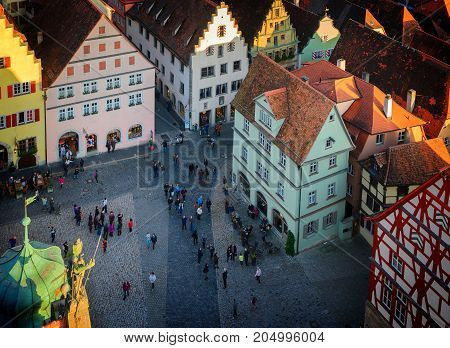 Rothenburg ob der Tauber, Germany, retro toned