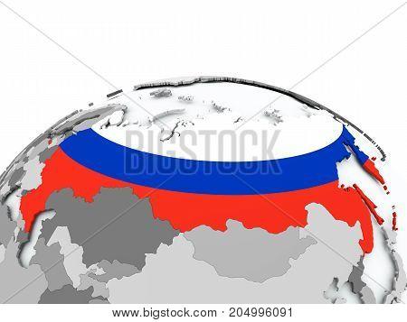 Flag Of Russia On Globe
