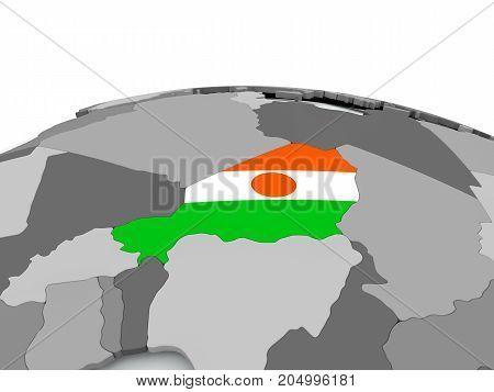 Flag Of Niger On Globe