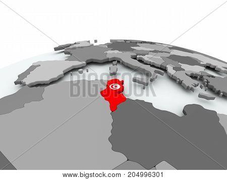 Flag Of Tunisia On Globe