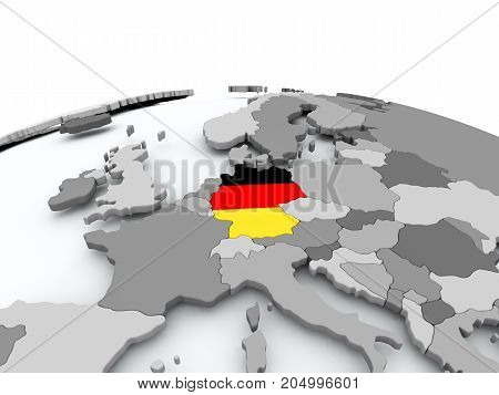 Flag Of Germany On Globe