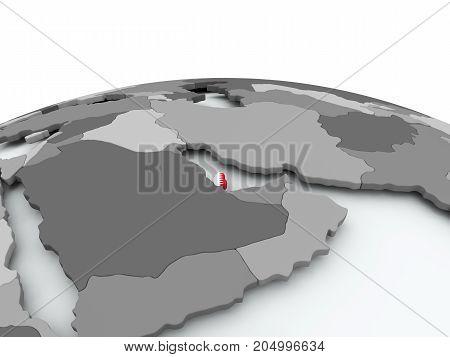 Flag Of Qatar On Globe