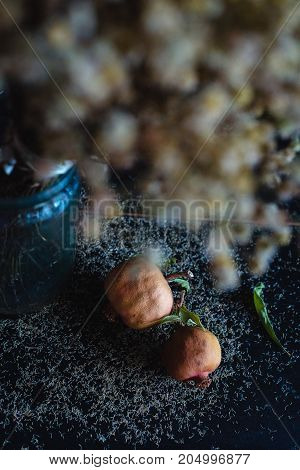 a bouquet of dried flowers stands on the piano next to the fruit of pomegranate