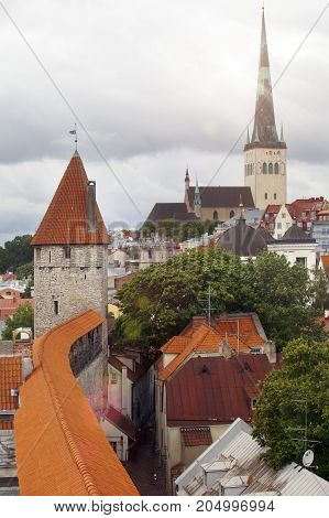 spike of St Olaf (Oleviste) Church and fortification tower. Tallinn Estonia
