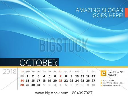 Desk Line Calendar For 2018 Year. October. Vector Design Print Template With Abstract Background. We