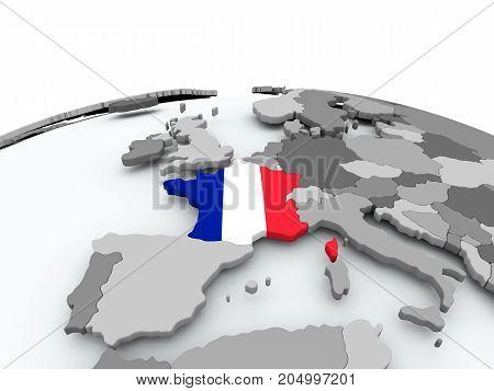 Flag Of France On Globe
