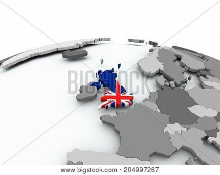 Flag Of United Kingdom On Globe
