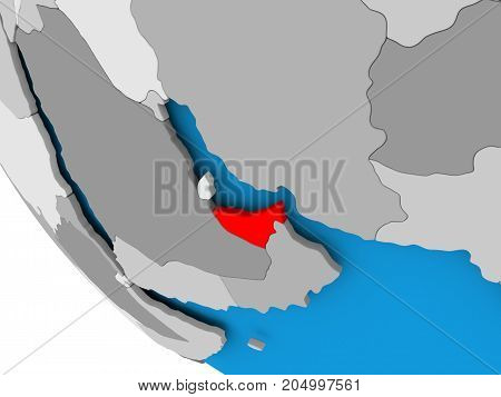 United Arab Emirates On Political Globe