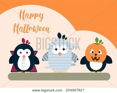 Vector Halloween card template with stylized penguin characters. Modern flat illustration.