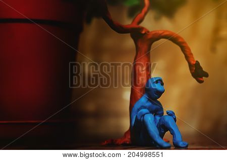 sad plasticine man who is looking for something in this life but can not yet find