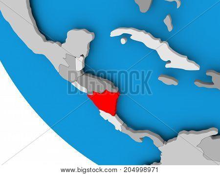 Nicaragua On Political Globe