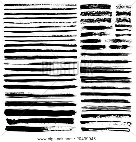 Set of brush strokes on white background. Vector illustration.