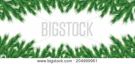 A long garland of a fir-tree branches. Christmas. Decor. Isolated.Drawing.