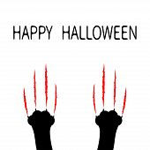 Happy Halloween. Bloody claws animal scratch scrape track. Black cat scratching paw leg foot set. Cute cartoon character silhouette. Baby pet collection. Flat design. White background. Vector poster