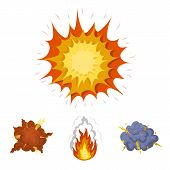 Flame, sparks, hydrogen fragments, atomic or gas explosion, thunderstorm, solar explosion. Explosions set collection icons in cartoon style vector symbol stock illustration . poster