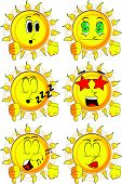 Cartoon sun showing dislike hand sign. Collection with various facial expressions. Vector set. poster