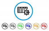 Euro Barcode Setup icon. Vector illustration style is a flat iconic euro barcode setup gray rounded symbol inside light blue circle with black, gray, green, blue, red, orange color versions. poster