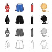 A boxing robe and panties, a training punching bag, a gong. Boxing set collection icons in cartoon black monochrome outline style vector symbol stock illustration . poster