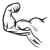 Strong Bodybuilder Biceps Flex Arm Vector Icon Strong macho biceps gym flexing hand vector icon isolated on white background poster
