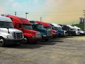 trucks truckstop stop rest trucking 18 wheeler transportation cross country drive driving driver CDL sky big road poster