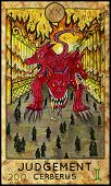 Judgement. Cerberus. Demon, mythological creature. Fantasy Creatures Tarot full deck. Major arcana. Hand drawn graphic illustration, engraved colorful painting with occult symbols poster