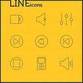 Editable Pack Of Mp3, Compact Disk, Subsequent And Other Elements.  Vector Illustration Of 9 Melody Icons. poster