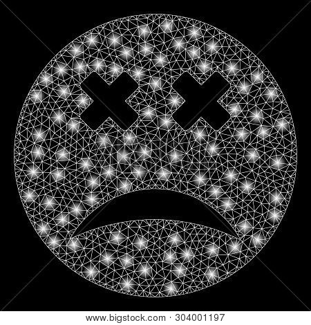 Bright Mesh Blind Smiley With Glare Effect. Abstract Illuminated Model Of Blind Smiley Icon. Shiny W