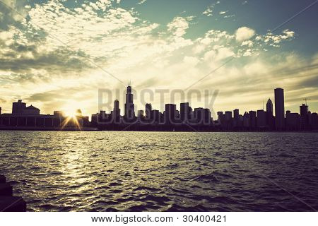 Winter Sun Setting Over The Skyline Of Chicago