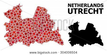 Red Star Mosaic And Solid Map Of Utrecht Province. Vector Geographic Map Of Utrecht Province In Red