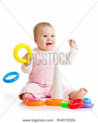 Cheerful Baby Playing With Pyramid Toy Isolated On White Background