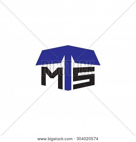 M T S Letter Initial With Cardboard Logo Vector Element. Cardboard Logo Template