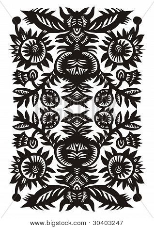 vertical decorative pattern with flowers