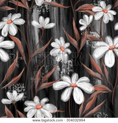 Seamless Pattern With Chamomiles. Floral Background In Oil Painting Style