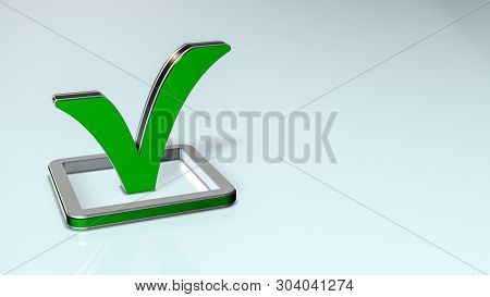 Green Check Mark, Concept Of Agreement Or Completion (3d Render)