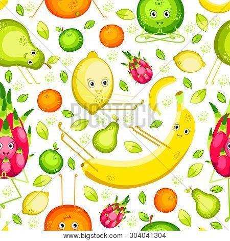 Vegan Yoga. Fruits Do Yoga. Seamless Pattern. Banana, Lemon, Orange, Apple, Pear, Pitahaya. Flat Sty