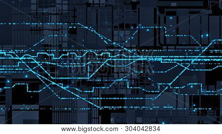 Abstract Futuristic Background Circuit Board With Dots And Lines (3d Render)