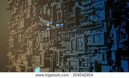Abstract Cube Shaped Structure, Concept Of Big Data, Cyberspace, Futuristic City (3d Render)