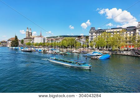 Zurich, Switzerland - May 30, 2019: Buildings Of The Historic Part Of The City Of Zurich, The Felix