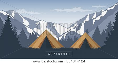 Camping Adventure In The Wilderness In The Forest At Snowy Mountain Landscape Vector Illustration Ep