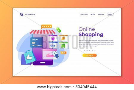 Landing Page Template Of Online Shopping. Modern Flat Design Concept Of Web Page Design For Website