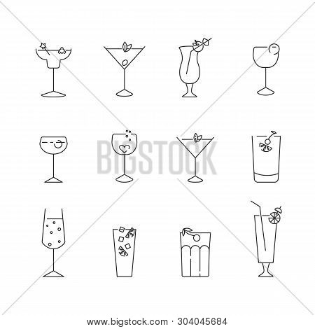 Set Of Simple Line Icons Of Classic Cocktails. Outline Symbol Collection.