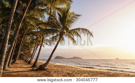 Panoramic View Of An Empty Tropical Beach At The Sunrise With Copy Space