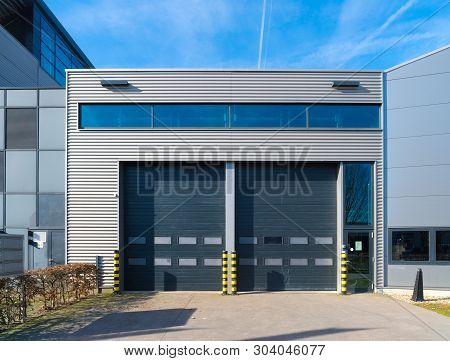 Exterior Of A Modern Office Builidng With Warehouse